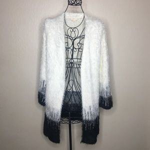 Mystree black and white fuzzy open cardigan #128